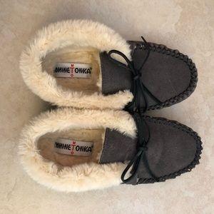 NWOT Minnetonka slippers grey